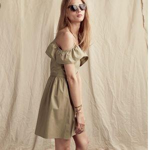 Madewell Khaki Cold Shoulder Ruffle Dress